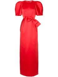 Dice Kayek Bow Detail Puff Sleeve Dress Red