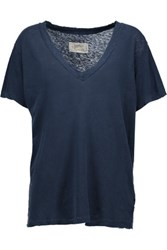 Current Elliott The V Neck Burnout Cotton Jersey T Shirt Storm Blue