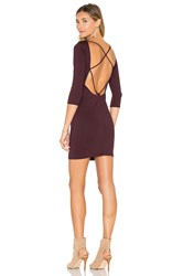 David Lerner Back Strappy 3 4 Sleeve Dress Wine