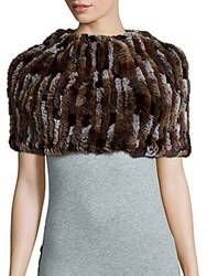 Jocelyn Knit Rabbit Fur Infinity Scarf Multi Brow