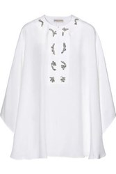 Emilio Pucci Woman Crystal Embellished Silk Crepe De Chine Cape White