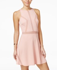Material Girl Juniors' Illusion Fit And Flare Dress Blush