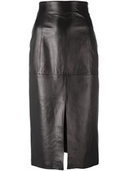 Plein Sud Jeans Long Slit Detail Skirt Black