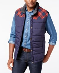 Weatherproof Vintage Men's Big And Tall Pieced Plaid Vest Navy