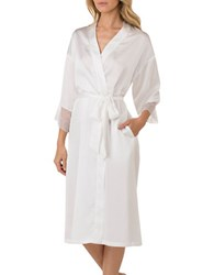 H Halston Satin Charmeuse And Lace Long Robe White