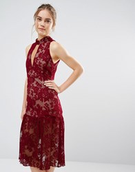 Endless Rose Frill Hem Key Hole Lace Dress Burgundy Red
