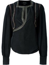 Isabel Marant Ebroidered Top With Long Sleeves Black