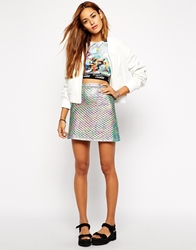 Jaded London Quilted Mini Skirt In Holographic Metallic Purpleholographic