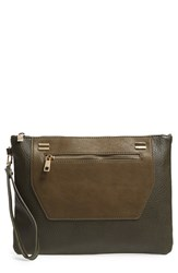 Sole Society 'Nolan' Oversize Faux Leather Clutch Green Olive