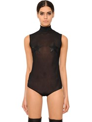 Givenchy Tulle Bodysuit W Faux Leather Stars