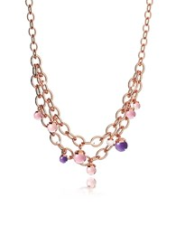 Rebecca Hollywood Stone Rose Gold Over Bronze Chains Necklace W Hidrothermal Stones Multicolor