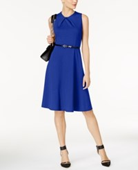 Ny Collection Petite Belted Fit And Flare Dress Surf The Web