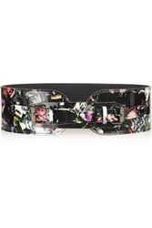 Mcq By Alexander Mcqueen Floral Print Patent Leather Waist Belt Black