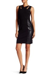 Laundry By Shelli Segal Cutout Faux Leather Panel Sheath Dress Black