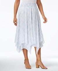 Style And Co Cotton Handkerchief Hem Skirt Only At Macy's Picnic Plaid Blue
