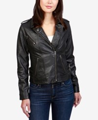 Lucky Brand Leather Moto Jacket Lucky Black