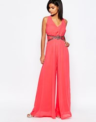 Little Mistress Wide Leg Jumpsuit With Embellished Waist Coral Pink