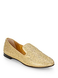 Giuseppe Zanotti Rhinestone Embellished Metallic Leather Smoking Slippers
