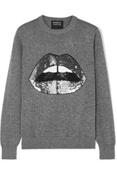 Markus Lupfer Mia Sequined Lurex And Cotton Blend Sweater Silver