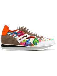 Etro Colour Block Floral Sneakers Silk Leather Suede Foam Rubber Multicolour
