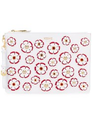 Moschino Floral Embroidered Clutch Women Cotton Leather Vinyl One Size White