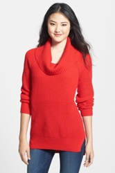 Chaus Textured Cowl Neck Tunic Sweater Pink