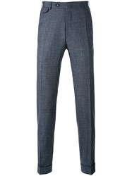 Canali Woven Tailored Trousers Men Silk Linen Flax Wool 50 Blue