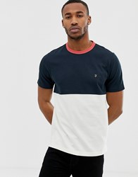 Farah Ewood Colour Panel T Shirt In Navy
