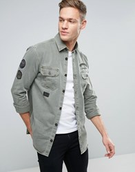 Jack And Jones Vintage Over Shirt With Patches In Regular Fit Black Olive Green
