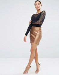 Asos Metallic Pu Mini Skirt With Dip Hem Bronze Gold