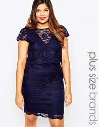Lipstick Boutique Plus Lace Layered Bodycon Dress Navy