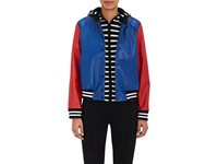 Lisa Perry Women's Appliqued Leather Bomber Jacket Blue Red No Color