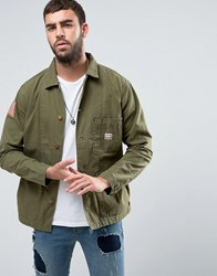 Denim And Supply Ralph Lauren Military Overshirt Jacket In Green Olive