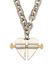 Prada Bolted Heart Charm Necklace Silver