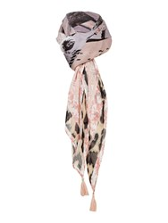 Oui Leopard Print Trim Scarf Multi Coloured Multi Coloured