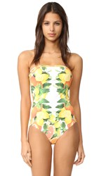 Stella Mccartney Iconic Prints Sleeveless One Piece Yellow Citrus Print