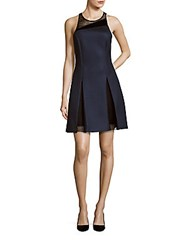 Sachin Babi Sleeveless Jewelneck Mesh Dress Midnight