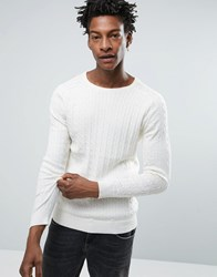 Selected Cable Knitted Jumper White