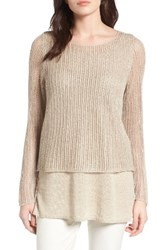 Eileen Fisher Women's Linen Open Knit Ballet Neck Top Unnatural
