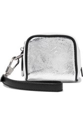 3.1 Phillip Lim Ryder Coated Metallic Textured Leather Clutch Silver