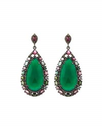 Bavna Green Onyx Tourmaline And Diamond Teardrop Earrings