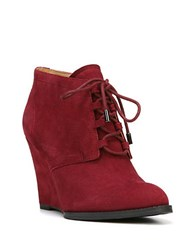 Franco Sarto Lennon Suede Wedge Booties Red