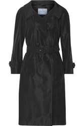 Prada Silk Faille Trench Coat Black