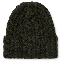 Drakes Drake's Cable Knit Wool Beanie Dark Green