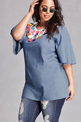 Forever 21 Plus Size Velzera Top Medium Denim
