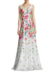 David Meister Floral Print Chiffon Gown White Multicolor