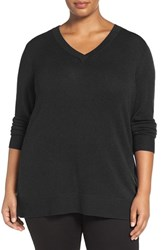 Sejour Plus Size Women's Wool And Cashmere V Neck Sweater