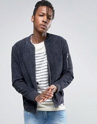 Selected Homme Suede Bomber Jacket With Straight Hem Black