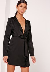 Missguided Silky Plunge Wrap Shift Dress Black