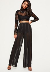Missguided Black Sheer Stripe Wide Leg Trousers